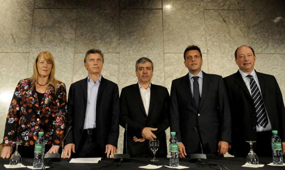 STOLBIZER, MACRI, CANO, MASSA y SANZ EN CONFERENCIA DE PRENSA