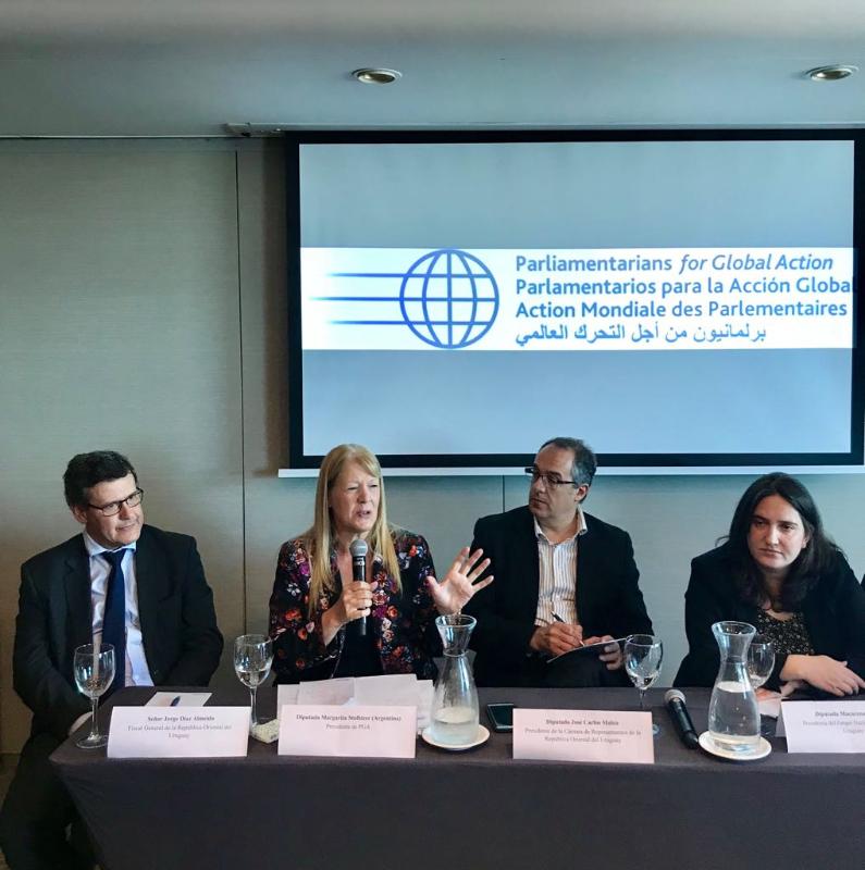 Margarita Stolbizer se encuentra desde ayer en Montevideo, como presidenta de PGA participa del Seminario Parlamentario sobre Justicia internacional, una herramienta fundamental para el desarrollo sostenible en las sociedades pacíficas e inclusivas.