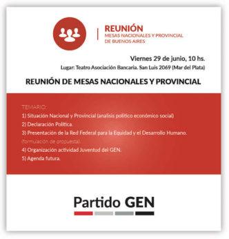 Reunión de Mesas Nacionales y Provinciales del PartidoGEN  En el Teatro Asociación Bancaria. San Luis 2069 MarDelPlata
