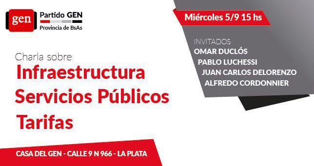 El Miércoles 5/9 15hs charla sobre Infraestructura, Servicios Públicos y Tarifas