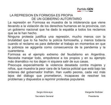 LA REPRESION EN FORMOSA ES PROPIA DE UN GOBIERNO AUTORITARIO